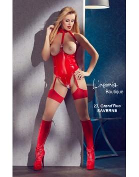 Body Vinyle seins nus ouvert porte jarretelle rouge
