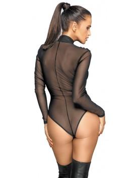 Body transparent zippé manches longues